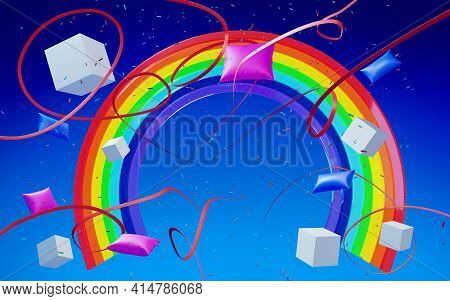 Rainbow On A Blue Background With Confetti, Ribbons And Pillows. 3d Illustration