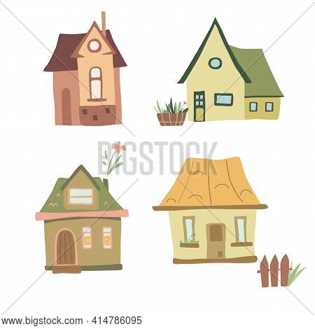 Set Of Four Colorful Cozy Houses In A Funny Cartoon Style. Graphic Design Element. Funny Vector Illu