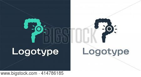 Logotype Gut Constipation Icon Isolated On White Background. Bowel Problems. Logo Design Template El