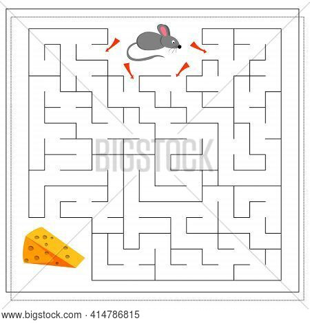 A Maze Game For Kids. Guide The Mouse Through The Maze To The Cheese. Vector Isolated On A White Bac