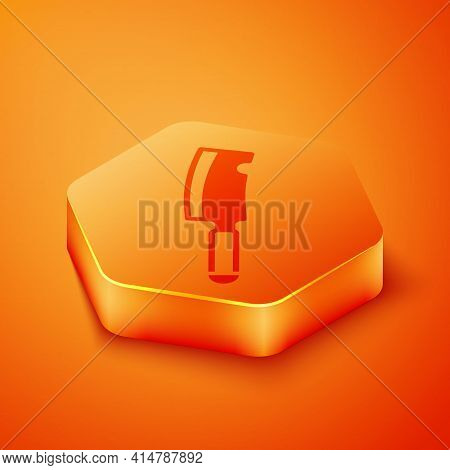 Isometric Meat Chopper Icon Isolated On Orange Background. Butcher Knife. Kitchen Knife For Meat. Bu
