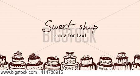 Pale Pink Background With A Horizontal Border Of Wedding And Birthday Cakes And Place For Text. Swee