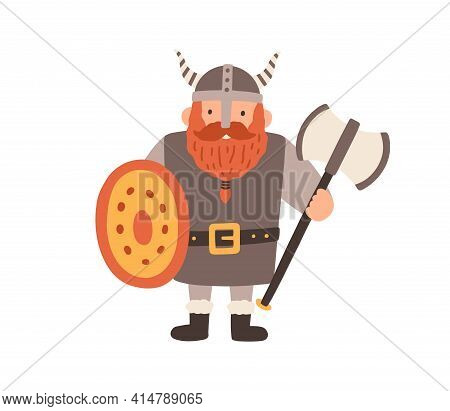Ancient Scandinavian Viking In Helmet With Horns. Bearded Swedish Warrior With Shield And Axe. Nordi