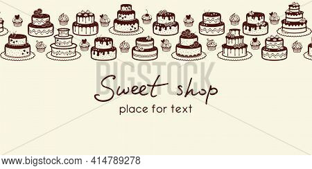 Pale Beige Background With A Horizontal Border Of Cakes, Cupcakes, Muffins And Place For Text. Sweet