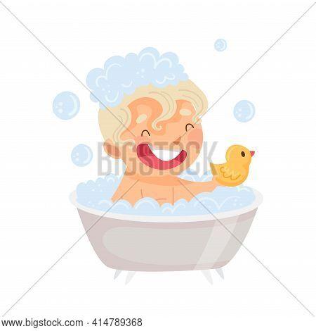 Little Boy Sitting In Tub Full Of Foam Taking Bath In Bathroom Washing With Soap Vector Illustration