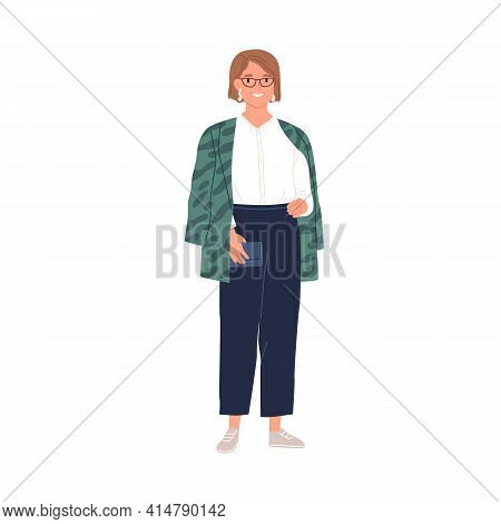 Portrait Of Happy Woman In Stylish Casual Clothes. Smiling Modern Female Character In Sneakers, Trou