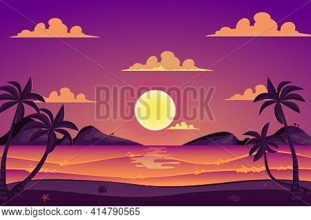 Summer Sea Beach Landscape Background In Flat Cartoon Style. Ocean Seashore With Palm Trees, Mountai