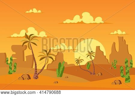 Desert With Vegetation Landscape Background In Flat Cartoon Style. Sand Dunes, Palm Trees, Cactus, R