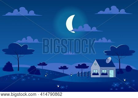 Moon In Sky At Spring Village With Green Meadow Landscape Background In Flat Cartoon Style. Moonligh