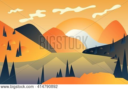 Abstract Mountains Landscape Background In Flat Cartoon Style. Sunset Over Rocky Peaks And Lake, Hil