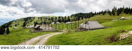 Mountain Cottage Hut Or House On Idyllic Hill Velika Planina.