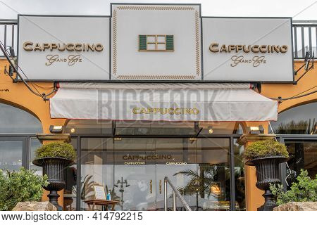 Puerto Portals, Spain; March 21 2021: Main Facade Of The Cafeteria Establishment Called Cappuccino,
