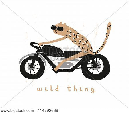 Wild Thing. Cute Vector Illustration With Cool Tiger Riding A Motorcycle. Wild Cat On A Motorbike Is