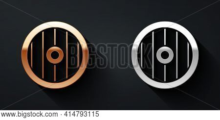 Gold And Silver Greek Shield With Greek Ornament Icon Isolated On Black Background. Long Shadow Styl