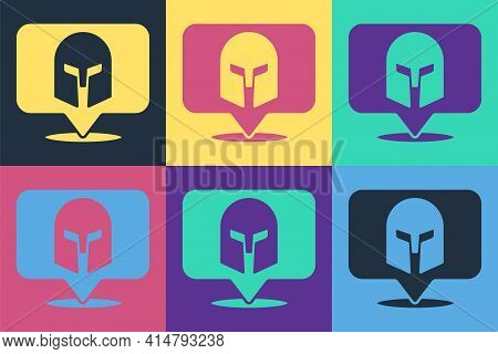 Pop Art Greek Helmet Icon Isolated On Color Background. Antiques Helmet For Head Protection Soldiers