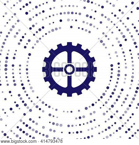 Blue Bicycle Sprocket Crank Icon Isolated On White Background. Abstract Circle Random Dots. Vector
