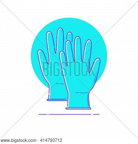 Blue Medical Gloves On Circle Line Icon For Infographic Of Preventing Pandemic, Epidemic Of Coronavi