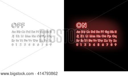 Turn On And Off Neon Alphabet Letters And Numbers Font, 3d Rendering. Ultraviolet Typeface With Nume