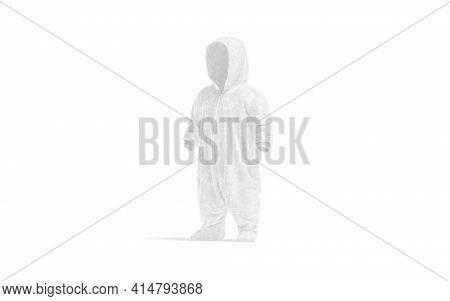 Blank White Kid Plush Jumpsuit With Hood Mockup, Side View, 3d Rendering. Empty Baby Sleepwear Or Ov