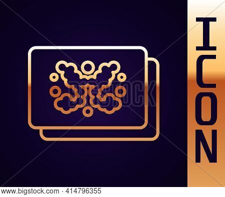 Gold Line Rorschach Test Icon Isolated On Black Background. Psycho Diagnostic Inkblot Test Rorschach
