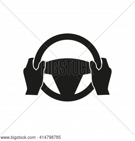 Steering Wheel Icon. Hands On The Steering Wheel Of The Car. Simple Vector Illustration On A White B