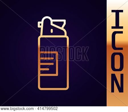 Gold Line Weapons Oil Bottle Icon Isolated On Black Background. Weapon Care. Vector