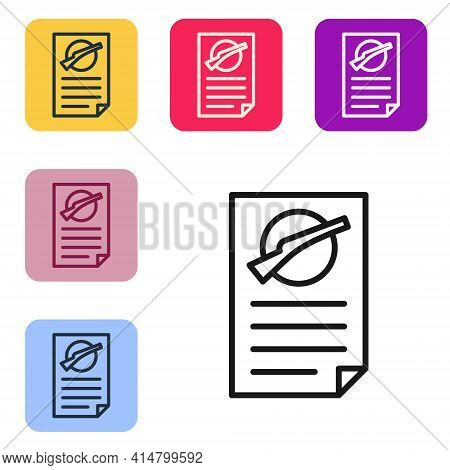 Black Line Firearms License Certificate Icon Isolated On White Background. Weapon Permit. Set Icons
