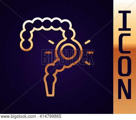 Gold Line Gut Constipation Icon Isolated On Black Background. Bowel Problems. Vector