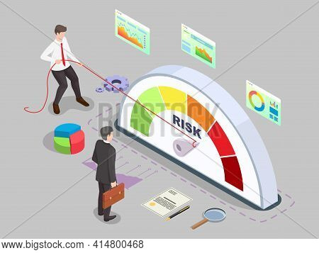Isometric Businessman Turning Risk Meter Arrow Back With Rope, Flat Vector Illustration. Effective R