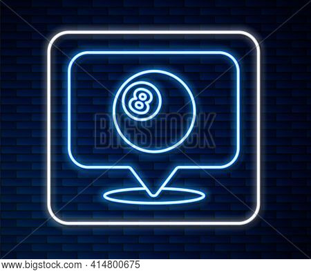 Glowing Neon Line Map Pointer With Billiard Pool Snooker Ball With Number 8 Icon Isolated On Brick W