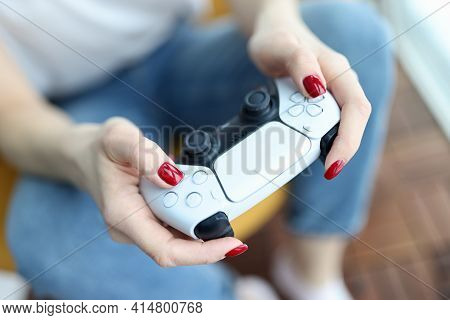 Silver Game Joystick In Female Hands Closeup