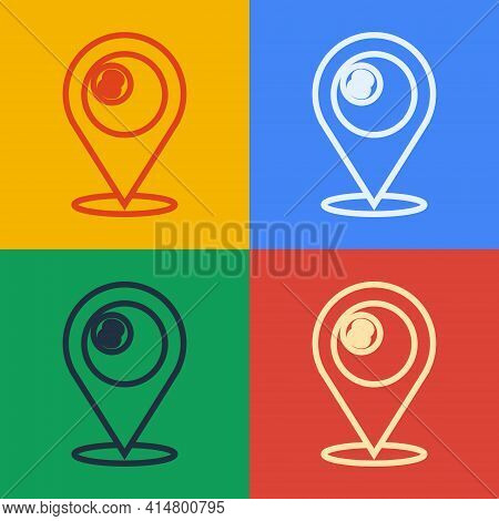 Pop Art Line Map Pointer With Billiard Pool Snooker Ball With Number 8 Icon Isolated On Color Backgr