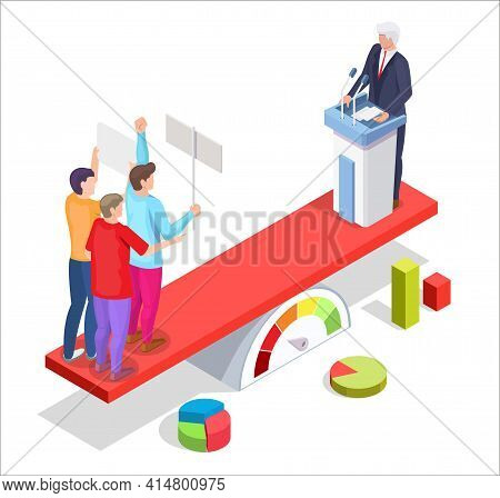Group Of People Protesters With Placards And Politician, Vector Isometric Illustration. Political Pr