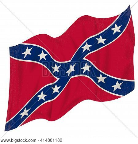 The Confederate Flag Fluttering In The Wind. Isolated On A White Background