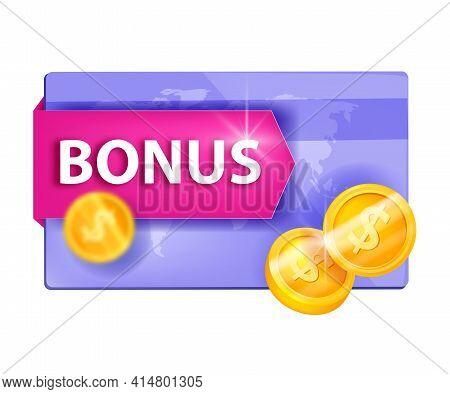 Gift Bonus Card, Customer Reward, Loyalty Program Vector Illustration, Golden Coins Isolated On Whit