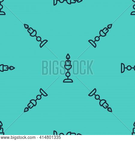 Black Line Burning Candle In Candlestick Icon Isolated Seamless Pattern On Green Background. Old Fas
