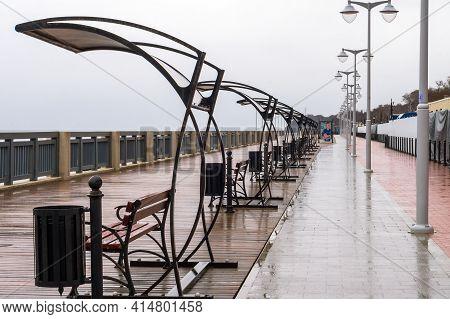 Russia, Kaliningrad Region, Svetlogorsk, March 14, 2021. A Seaside Promenade In Rainy Weather. A Des