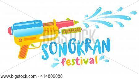 Vector Logo For Songkran Festival In Thailand. Emblem For Water Festival With Gun.