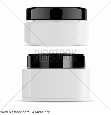 White Cream Jar Black Cap Gloss Container Mockup. Body Scrub Beauty Packaging, Vector Box. Creme Can
