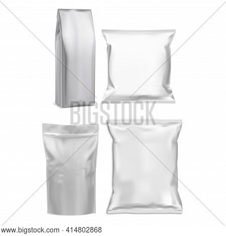 Coffee Bag, Pouch Mockup. Aluminium Silver Food Packet. Foil Snack Package Pillow Design. Glossy Pla