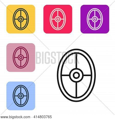 Black Line Greek Shield With Greek Ornament Icon Isolated On White Background. Set Icons In Color Sq