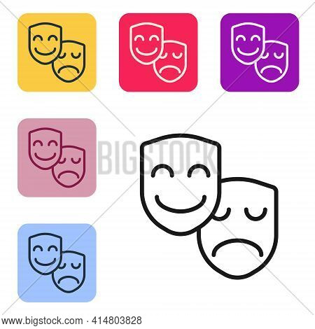 Black Line Comedy And Tragedy Theatrical Masks Icon Isolated On White Background. Set Icons In Color