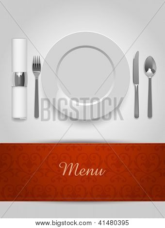 Menu illustration with plate and cutlery, eps10 vector
