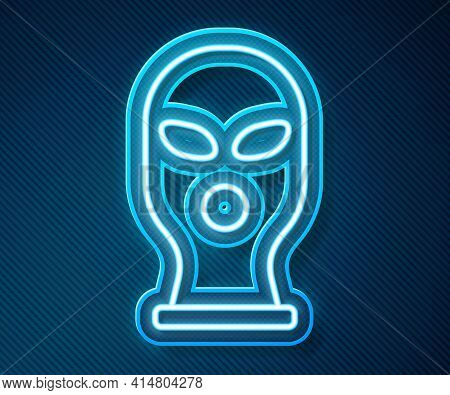 Glowing Neon Line Balaclava Icon Isolated On Blue Background. A Piece Of Clothing For Winter Sports