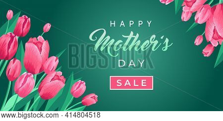 Happy Mothers Day Sale Web Banner. Vector Card For Social Media, Online Stores, Poster. Text Of Happ