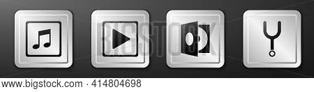 Set Music Note, Tone, Play In Square, Vinyl Player With A Vinyl Disk And Musical Tuning Fork Icon. S