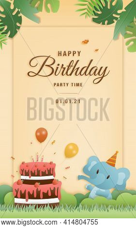 Cartoon Happy Birthday Elephant Card With Cake. Greeting Cards With Cute Safari Or Jungle Animals Pa