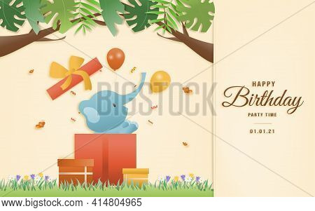 Cartoon Happy Birthday Animals Card. Greeting Cards With Cute Safari Or Jungle Animals In Gift Box P