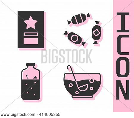 Set Mixed Punch In Bowl, Greeting Card, Mulled Wine And Candy Icon. Vector