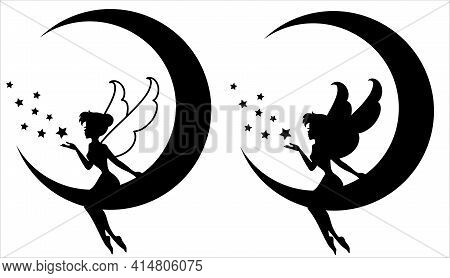 Silhouette Of A Fairy With A Magic Wand.